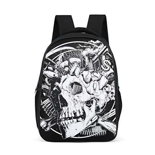 Dofeely schedel zwarte print schoolrugzak schooltas mini backpack unisex functionele rugzak dagrugzak voor camping outdoor 32 c * 18 * 42 cm