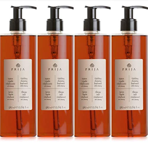 Prija Flüssigseife Seife Ginseng Soap Wellness Spa 4x 380ml Flakon 4x Pumpspender - Vegan auf natürlicher Basis Seife Herren Damen anti allergen Parabenfrei