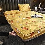 GTWOZNB Protector de colchón Transpirable.Rizo Bambú. Sábana de algodón de una Sola Pieza engrosamiento-16_120 * 200cm