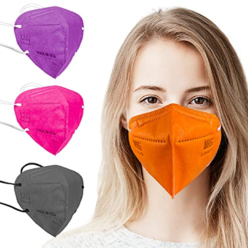 5 Layer Protection Breathable Face Mask (Tangerine Orange) - Made in USA - Filtration95% with Comfortable Elastic Ear Loop   Bandanna Replacement   For Travel and Personal Care (5 pcs)
