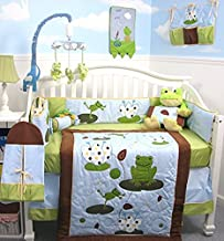 SoHo Baby Crib Bedding 10Pc Set, Blue Green Frogs
