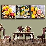 woplmh 3 piezas de pinturas para la cocina jugo de frutas decoración de la pared lienzo moderno Cuadros de arte para el comedor vino imprimir cartel-60x60cmx3pcs sin Marco