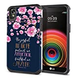 FINCIBO Case Compatible with LG X Power LS755 US610 K450 K210, Dual Layer Hard Back Hybrid Protector Case Cover TPU for LG X Power LS755 (NOT FIT LG X Style) - Romans 12:12 Falling Pink Flower Navy