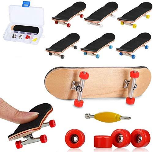 QNFY Monopatines para Dedos, Mini Diapasón de Madera Patineta de Dedo Skatepark Juguete DIY Montar Tablero de Dedos Fingerboard Finger Skateboards Niños (Rojo)