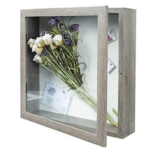 Egleson 3D Bilderrahmen 28 x 28 cm Grau Tiefe Fotorahmen zum Befüllen mit Magnetische Tür Objektrahmen Shadow Box als Deco Geschenk für Ostern oder Geburstag, 1 Stück