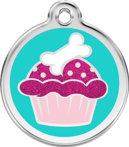 Red Dingo Stainless Steel & Glitter Enamel Cupcake Dog ID Tag (Large)