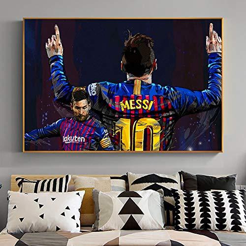 UIOLK Cartel de la Superestrella del fútbol de Messi El Rey león del fútbol Lienzo Pintura al óleo León decoración de la Pared e Imagen Deportiva de los Hombres Sala de Estar