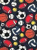 Jersey Stoff Kinderstoff Ball Fußball dunkelblau Breite