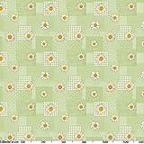 ANRO Wachstuchtischdecke Wachstuch Wachstischdecke Tischdecke Kamille Patchwork Grün 100x140cm - 4