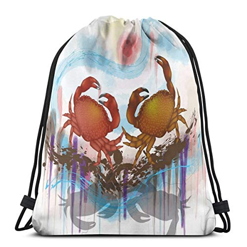 LLiopn Drawstring Sack Backpacks Bags,Sea Animals Theme Two Crabs Dancing On The Abstract Grunge Background Print,Adjustable.,5 Liter Capacity,Adjustable.