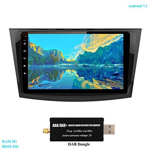 XISEDO 9 Pouces Voiture Radio à Écran Tactile in-Dash Android 7.1 Autoradio RAM 2G ROM 32G Car Radio Système de Navigation GPS pour Mazda 3 (2010-2013) (avec Dongle Dab)
