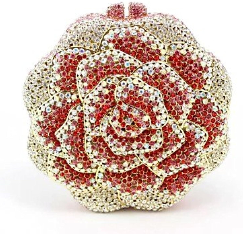 W&P Women's Hot pink Design Crystal Wedding Purse