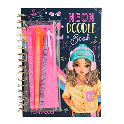 Depesche 10273 - Malbuch Neon Doodle Book, TOPModel, mit 3 Stiften