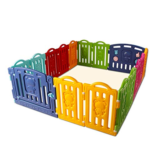 CCLIFE Parque infantil bebe Plástico para Bebés para Niños Corralito Bebe centro de actividades de seguridad centro de actividades de seguridad, Color:16unidades Oso