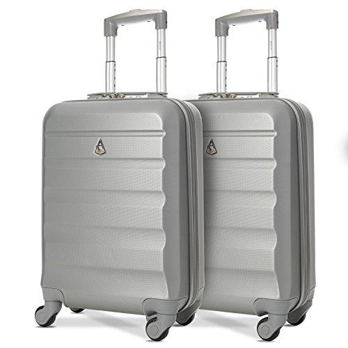 Aerolite ABS Cabin Hardshell Travel Luggage, 21-Inch/55cm, Silver, Set of 2