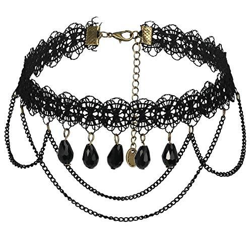 Daesar Women Necklace Black, Stainless Steel Necklaces for Women Bead Pendants Laciness Cable Chain Pendant Necklace Black