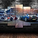 UIOJH Impresión 5 Piezas Cuadro En Lienzo Personalizado Modernos Murales Pared Coches de Fórmula F1 Modular Canvas Prints Oficina Salón Pared Decoracion Enmarcado 200x100cm