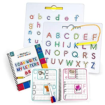 Motlan Magnetic Letter Board  2 in 1 — Alphabet Magnet Tracing Board for Toddlers— Uppercase and Lowercase ABC Letters Practice with Bonus Dry Erase Book and Markers