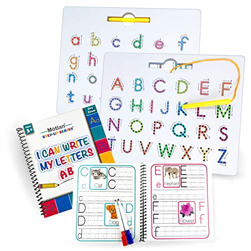 Motlan Magnetic Letter Board (2 in 1)— Alphabet Magnet Tracing Board for Toddlers— Uppercase and Lowercase ABC Letters Practice with Bonus Dry Erase Book and Markers