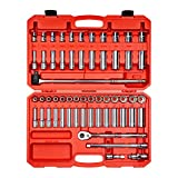 TEKTON 1/2 Inch Drive 6-Point Socket & Ratchet Set, 58-Piece (3/8 - 1 in., 10 - 24 mm) | SKT25301
