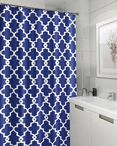 "YJBear Geometric Pattern Polyester Mildew Resistant Shower Curtain Waterproof Anti-Bacterial Bath Decor Home Decoration Bathroom Curtain Royal Blue 71"" X 71"""