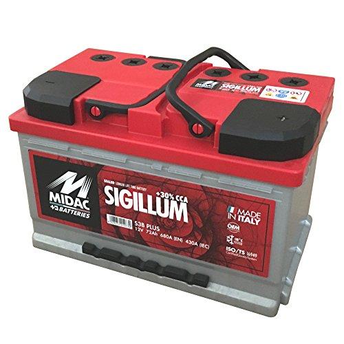 MIDAC SIGILLUM Starterbatterie S3B Plus 12V 72AH Doppeldeckel EINZELZELLEN-Labyrinth Batterie