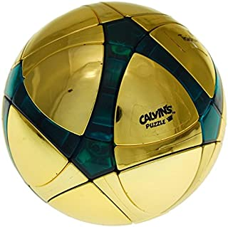 Calvin's Puzzles Traiphum Megaminx Ball -Metallized Gold Embedded Clear Jade Blue