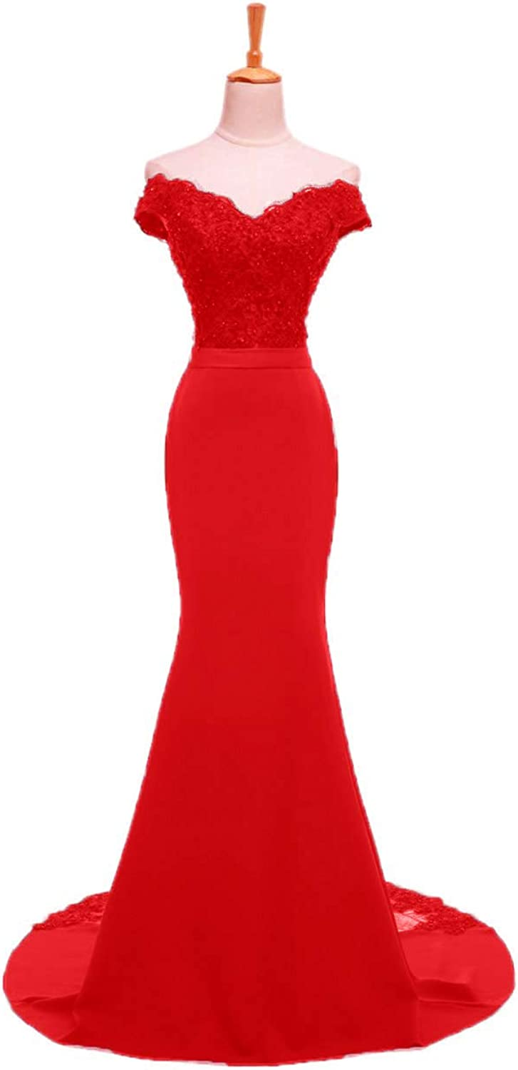 CL Bridal Women's Cap Sleeve Mermaid Long Evening Gowns Beaded Lace Prom Dresses