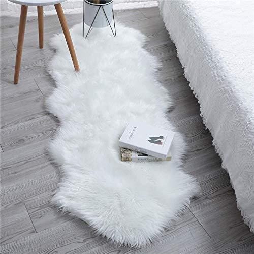YIHAIC Peau de Mouton synthétique,Cozy Sensation comme véritable Laine Tapis en Fourrure synthétique, Man-Made Luxe Laine Tapis de Canapé Coussin (Blanc, 60 x 160 cm)