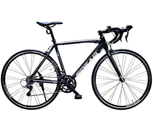 SPEAR (スペア) ロードバイク アルミフレーム シマノ製 16段変速 SPR-7016 ディレーラー シマノ製クラリス デュアルコントロールレバー 初心者 1年保証付 (マットブラック)