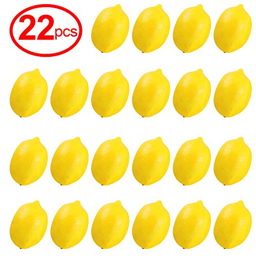Yinger-WG Fake Fruit 22pcs Kitchen Party Decoration Artificial Fake Lemons Faux Lemons Fruits in Yellow 3' Long x 2' Wide