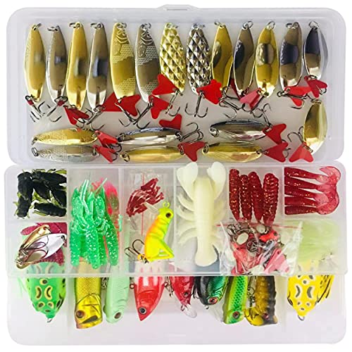 Bluenet 279pcs Fishing Lure Set Including Plastic Soft Lures Frog Lures Soft Fishing Lure Hard Metal Lure VIB Rattle Crank Popper Minnow Pencil Metal Jig Hook for Trout Bass Salmon