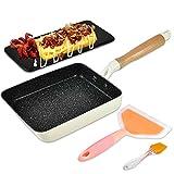 Artcome Sartén japonesa para tortillas con revestimiento antiadherente Tamagoyaki - Mini sartén rectangular con espátula de silicona y cepillo, placa negra y goma de borrar mágica (blanco)