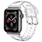 iiteeology Compatible with Apple Watch Band 42mm 44mm, Women Glitter Soft Silicone Sports iWatch Band Strap for Apple Watch Series 5/4/3/2/1-42mm 44mm Clear/Silver