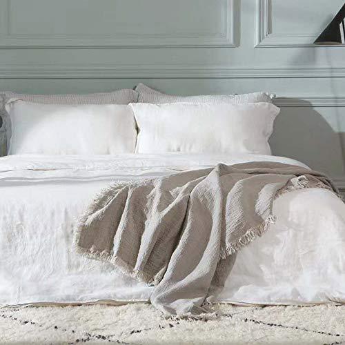 idunmed - Manta de lino belga 100% puro con flecos, ligera, tamaño 150 x 170 cm, para cama de sofá, viajes, camping, interior y exterior (cáñamo)