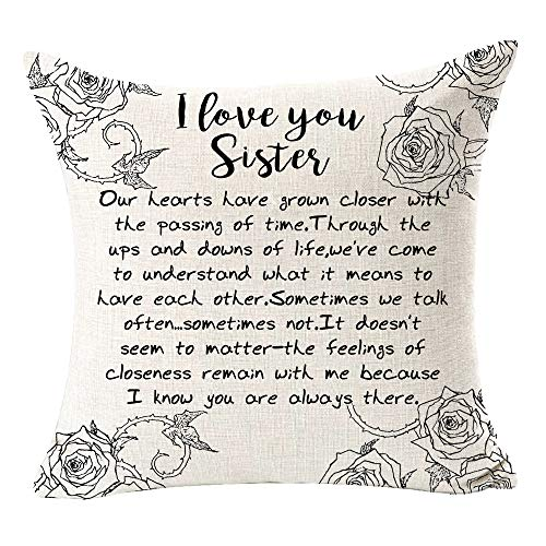 Andreannie Best Sister Gift Friend Love You Sister Cotton Linen Throw Pillow Case Cushion Cover Home Office Decorative for Sofa Living Room Square 18 X 18 Inches (I Love You Sister)
