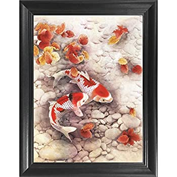 Koi Fish 3D Poster Wall Art Decor Framed Print   14.5x18.5   Lenticular Posters & Pictures   Memorabilia Gifts for Guys & Girls Bedroom   Yin & Yang Meditation & Balance Asian Artwork Decorations