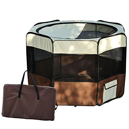 Outsunny - Box per Animali Cani Gatto- Recinzione per Cuccioli pieghevole 116 x 116 x 71 cm caffè marrone