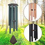 ASTARIN Wind Chimes Outdoor Large Deep Tone, 44 Inch Sympathy Wind Chime Outdoor, Memorial Wind-Chime with 6 Tuned Tubes, Elegant Chime for Garden, Patio, Balcony and Home Decor, Matte Green