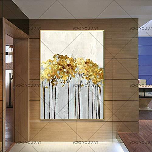 FUWANG Dibujar con números Pintado a Mano de Oro Abstracto Arte de la Pared a Mano de Pintura de Oro del árbol de la LON Pintura Sala de Estar la decoración del hogar