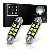 """2012 Ford Fusion License Plate Light Bulbs - SIRIUSLED Super Bright 2835 Chipset Canbus Error Free LED Festoon Bulbs for Car Truck Interior License Plate Dome Courtesy Lights 1.50"""" 36MM Festoon 6418 C5W 6000K Xenon White Pack of 2"""