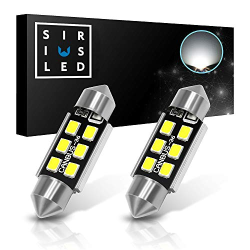 "SIRIUSLED Super Bright 2835 Chipset Canbus Error Free LED Festoon Bulbs for Car Truck Interior License Plate Dome Courtesy Lights 1.50"" 36MM Festoon 6418 C5W 6000K Xenon White Pack of 2"