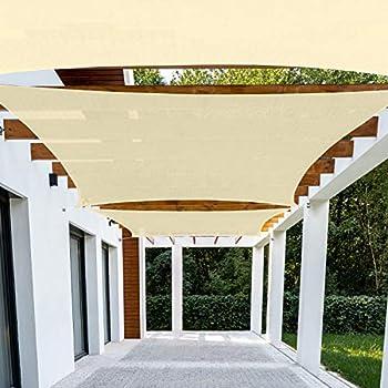 Patio Paradise 8  x 12  Beige Sun Shade Sail Rectangle Canopy - Permeable UV Block Fabric Durable Outdoor - Customized Available