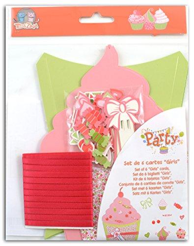 Teo & Zina KC21Set 6Einladungskarten Geburtstag Mädchen Papier Mehrfarbig 15x 15x 0,1cm