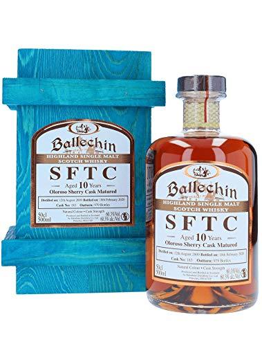 Edradour Ballechin SFTC Highland Single Malt Scotch Whisky, Oloroso Sherry Cask No. 183, 10 Jahre gereift, 60,3% 0,5 L