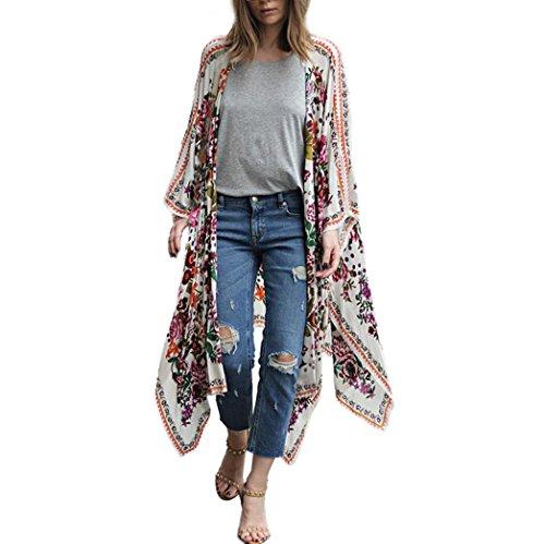 DEELIN Camisa con Cuello Alto De La Rebeca del Kimono del Chal Flojo De La Gasa De Las SeñOras Top Protector Solar De La Manera (S, Blanco)