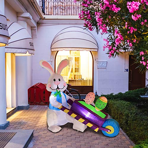 Vigdur Easter Airblown Inflatable Bunny Pushing Wheelbarrow with Eggs Lighted Indoor Outdoor Holiday Decorations Blow up Yard Lawn Inflatables Decor for Home Family Garden