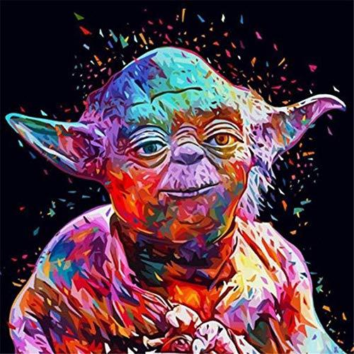 Smiling welcome DIY Painting by Numbers Kit, Ölgemälde mit Pinsel und Acrylfarben, Malen nach Zahlen, Geschenk für Erwachsene, Kinder, Home Decor, Wandkunst, Meister Yoda
