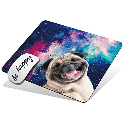 Mouse Pad Cute Custom Pattern Design Mouse Mat Non-Slip Rubber Base Gaming Mousepad for Wireless Mouse Laptop Computer Office Home, with Be Happy Stickers, Galaxy Dog