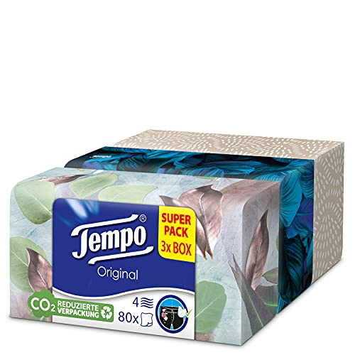 Tempo Taschentücher Original Trio-Box, 4-lagige Tempos in praktischer Tücherbox mit tollem Design, 3 x 80 Tücher (240 Tücher)